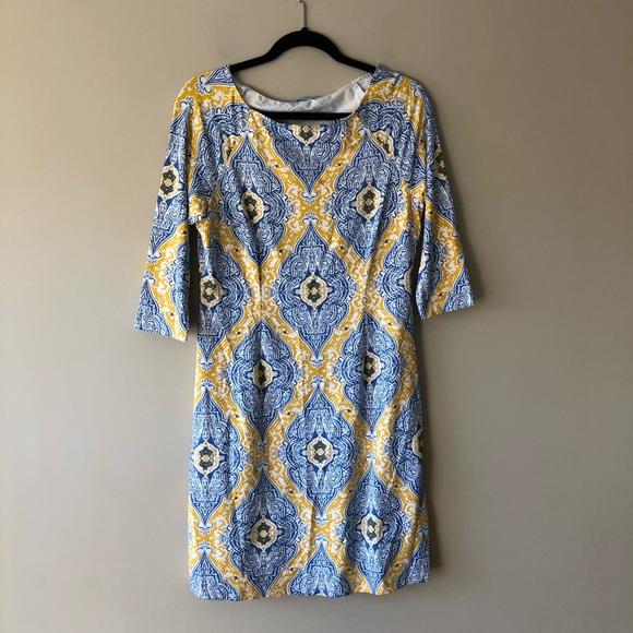J. McLaughlin blue/yellow printed dress